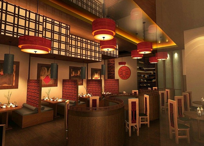 visual asian restaurant interior design for affectionate condition