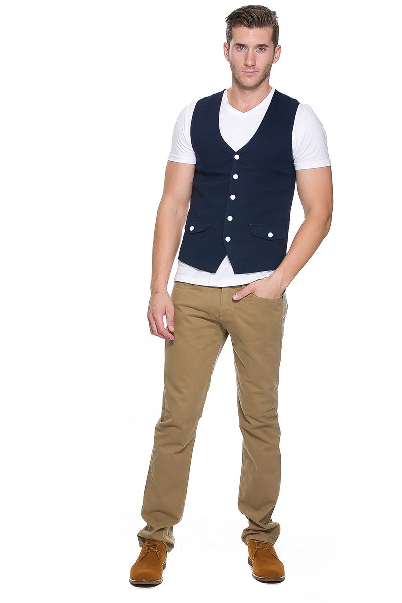 Foreign Exchange Men Outerwear Vests Navy On Vest With Pinstripe Back