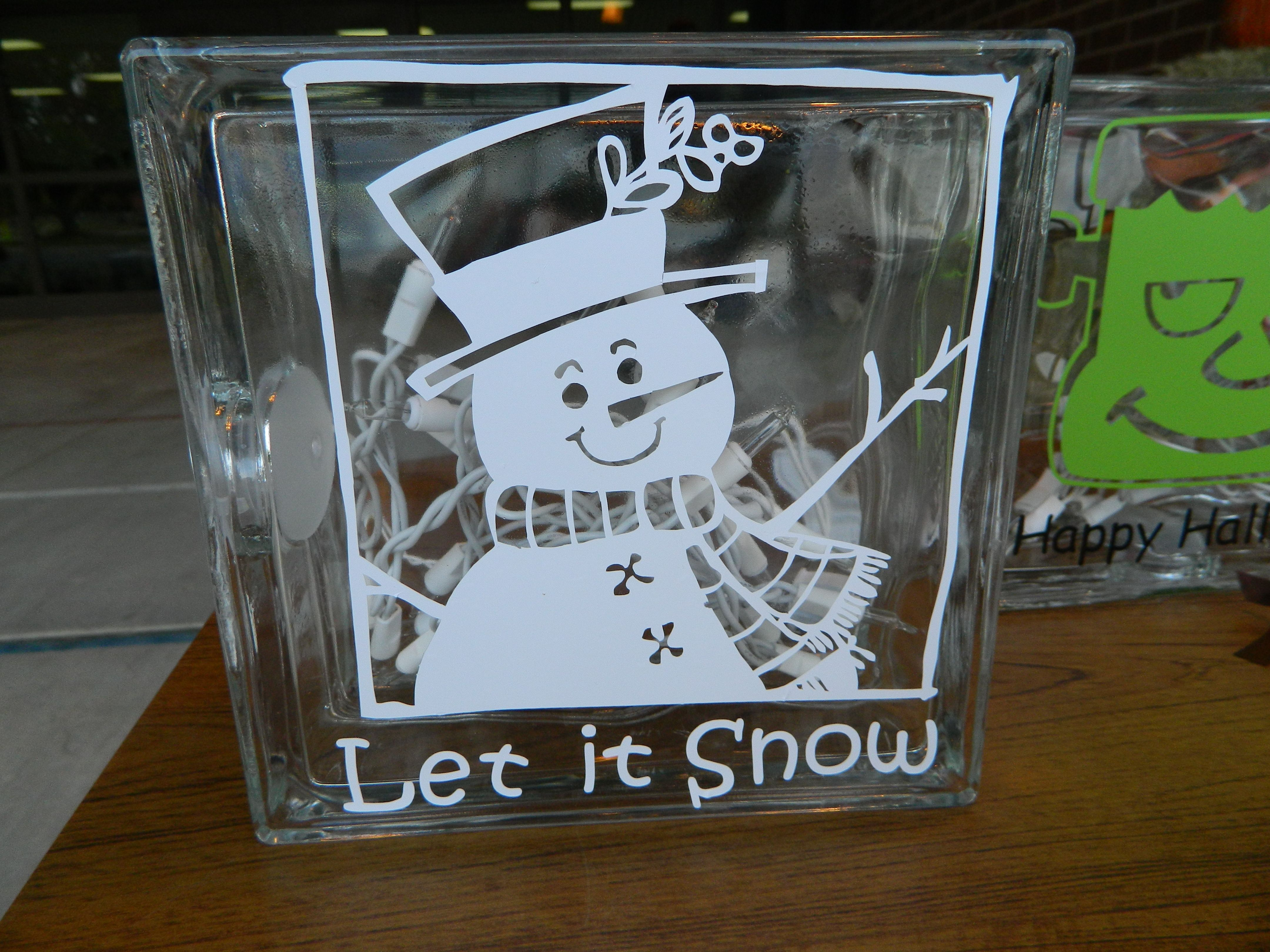 Clear glass blocks for crafts - Let It Snow Glass Block Gotta Find Some Blue Lights For It Instead Of The