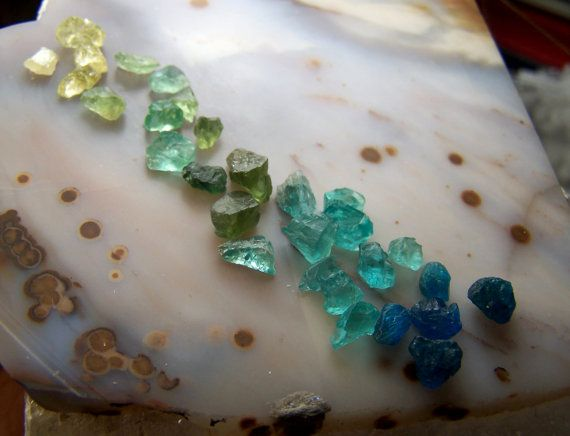 Apatite crystal lot  rainbow spectrum of Apatite by CoyoteRainbow, $35.00