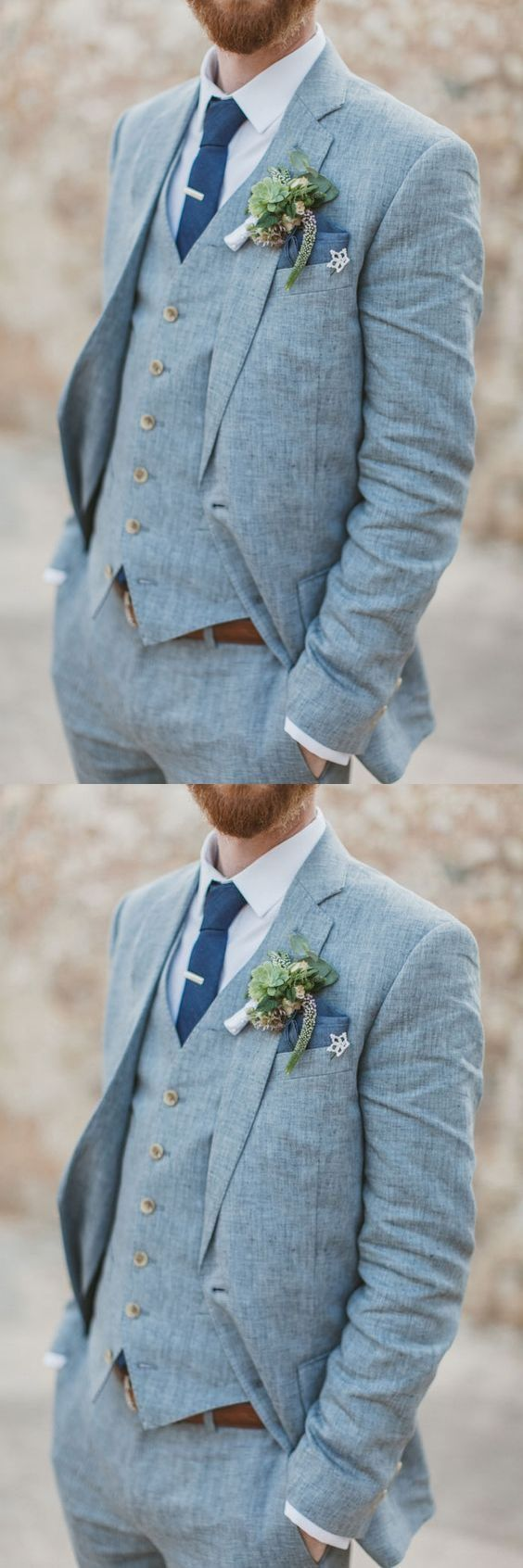 Light Blue Linen Men Suits For Beach Wedding 3 Piece Groom Tuxedos ...
