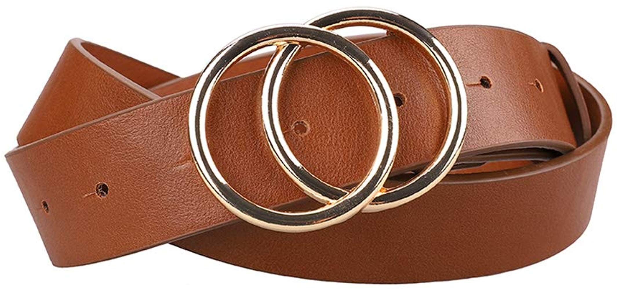 Earnda Womens Leather Belt Fashion Soft Faux Leather Waist Belts For Jeans Dress