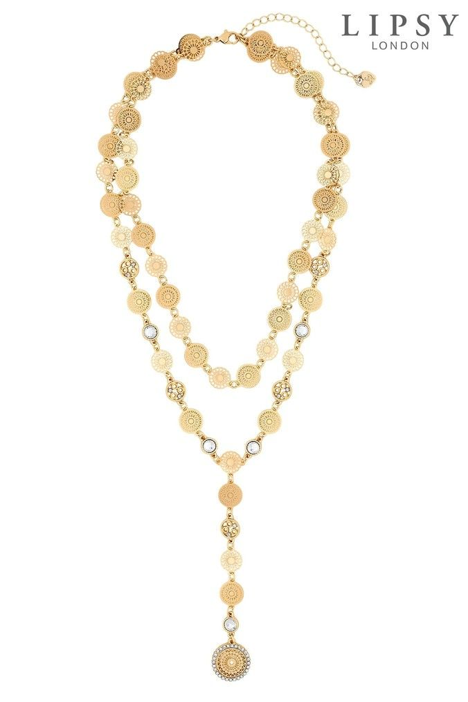 35e44a561e6 Womens Lipsy Filigree 2 Row Y-Drop Necklace - Gold | Products in ...