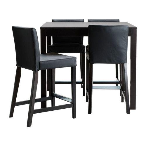 Marvelous BJURSTA / HENRIKSDAL Bar Table And 4 Bar Stools, Brown Black, Glose Black