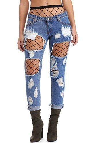 Comprar Ofertas de Yidarton Pantalones Jeans Mujer Skinny Pantalones Rotos  Flacos Vaqueros Azul Cintura Alta (S c813ba9aa532