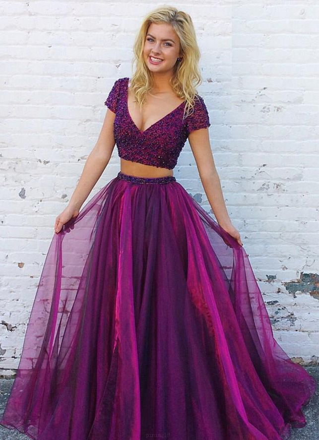 Sequin Purple Evening Prom Dresses Comely Long V-Neck Short Sleeve ...