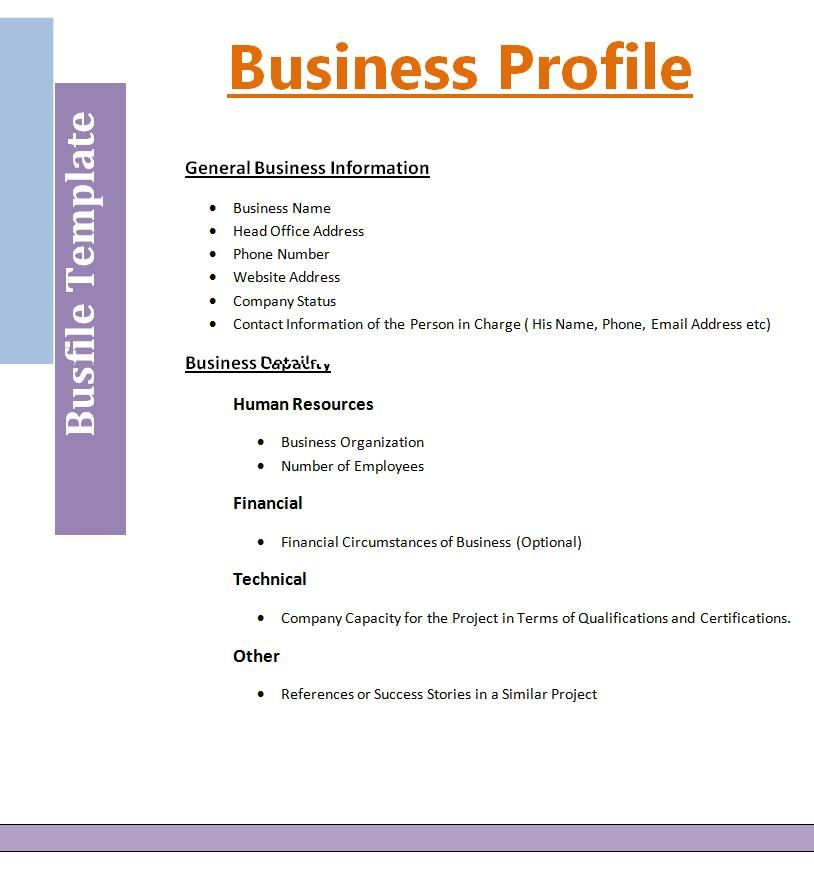 Business Profile Template Professional Templates Pinterest - Small business association business plan template