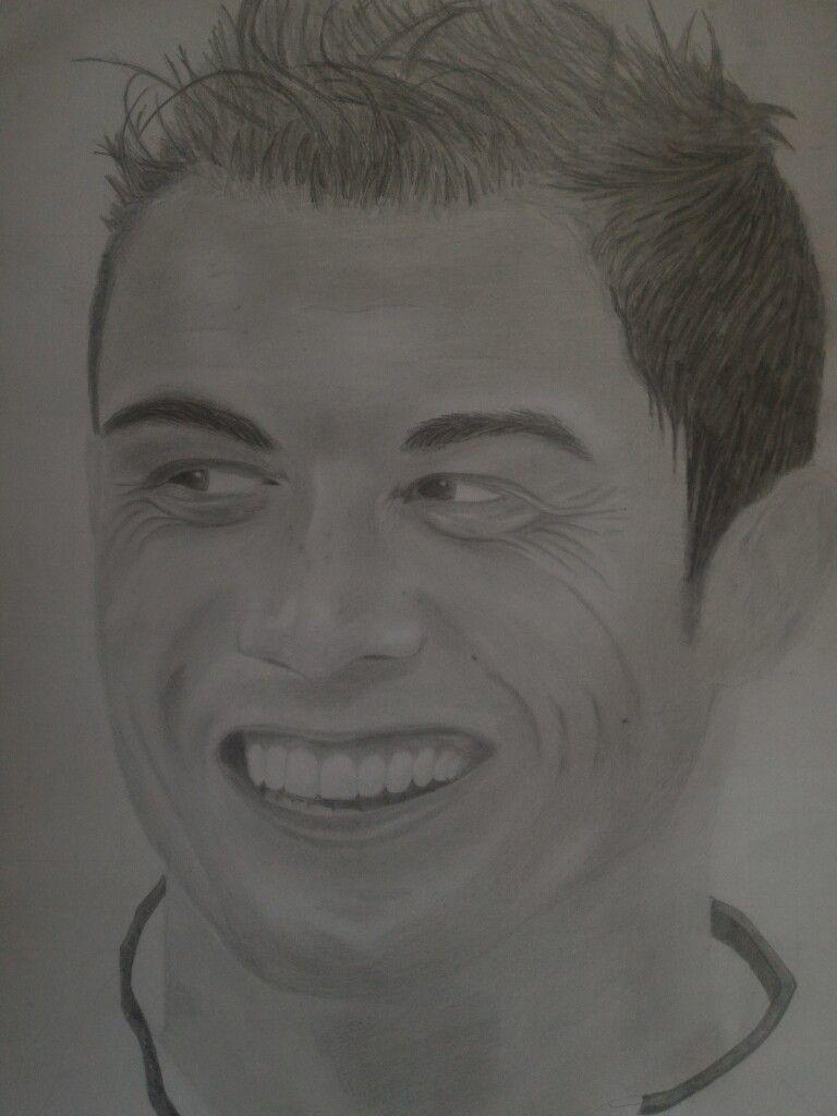 Gambar Potret Cristiano Ronaldo Dengan Pensil Graphite Belum Selesai Cristiano Ronaldo