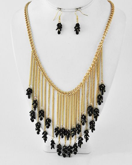 Gold Tone / Black Acrylic / Lead Compliant / Cluster Necklace & Fish Hook Earring Set