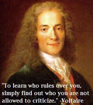"""""""To learn who rules over you, simply find out who you are not allowed to criticize."""" Voltaire"""