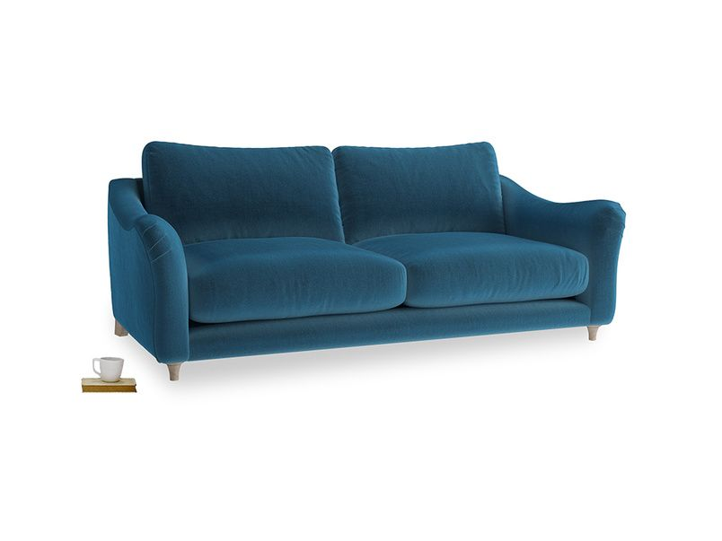 Large Bumpster Sofa In Twilight Blue Clever Deep Velvet Sofa Love Seat Furniture