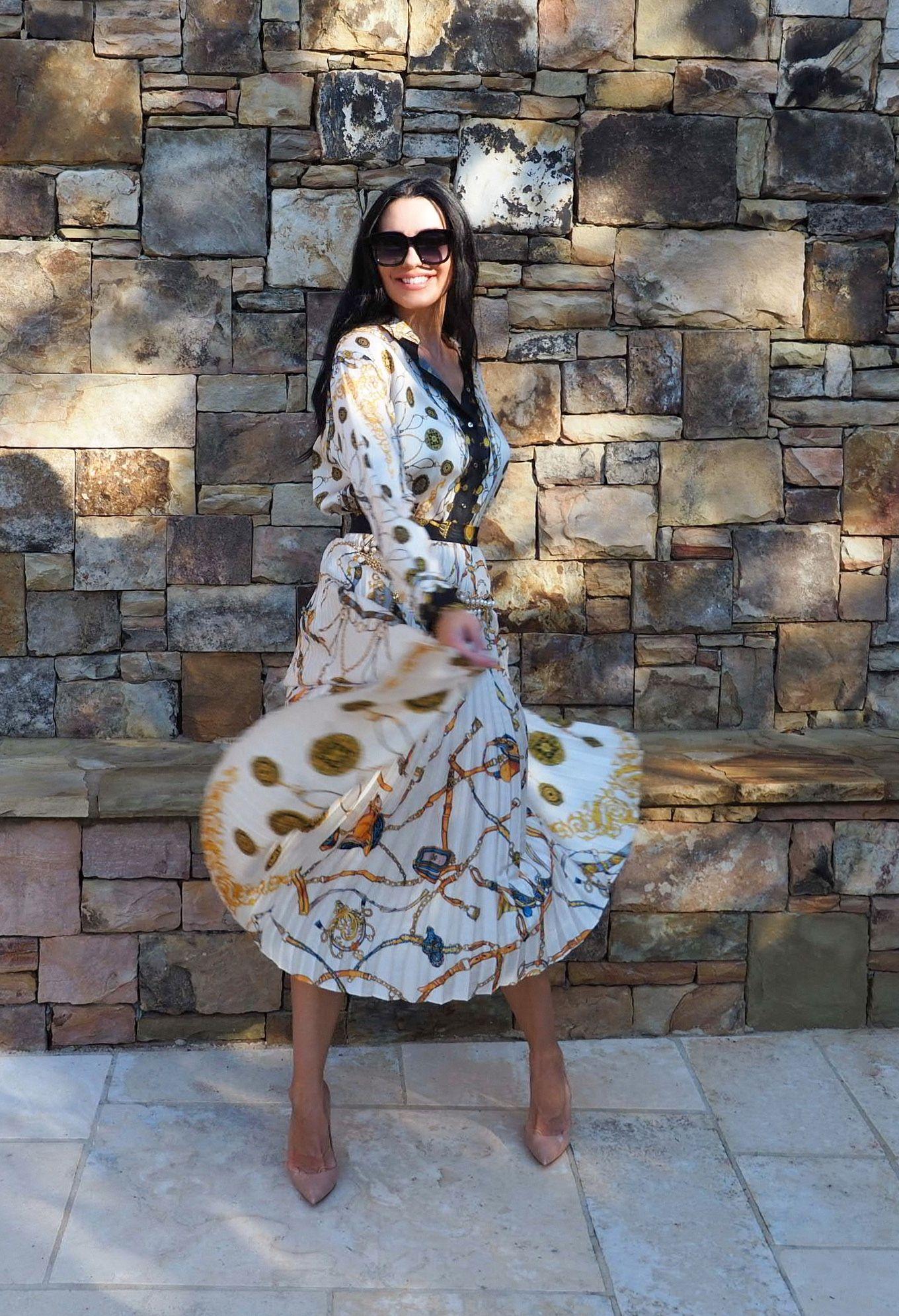 3ebde864 Zara, Scarf print, ZARA chain print pleated skirt, ZARA chain print shirt,  Scarf print skirt, Scarf print shirt, Louboutins, Statement outfit,  Workwear, ...