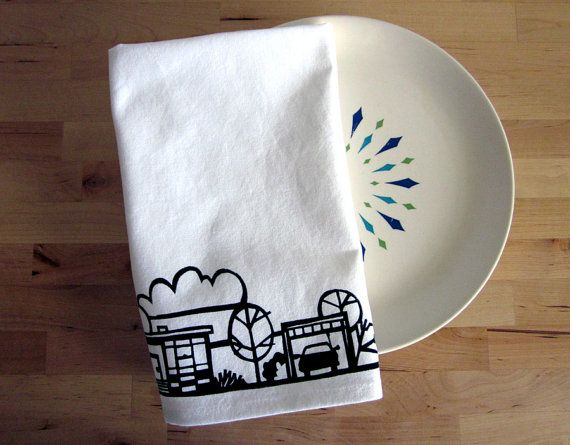 Retro Ranch No1 Screen Printed Tea Towel by vitamodern on Etsy, $16.00