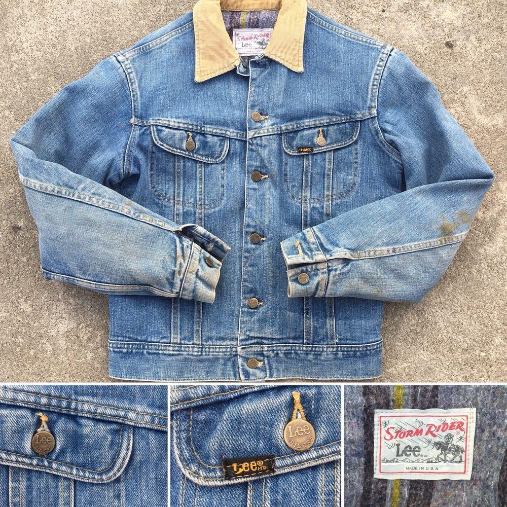 Vintage Lee Storm Rider Denim Jacket Blanket Lined Made In Usa Lee Jeans Vintage Denim Jacket Denim Jacket Men Denim Jacket