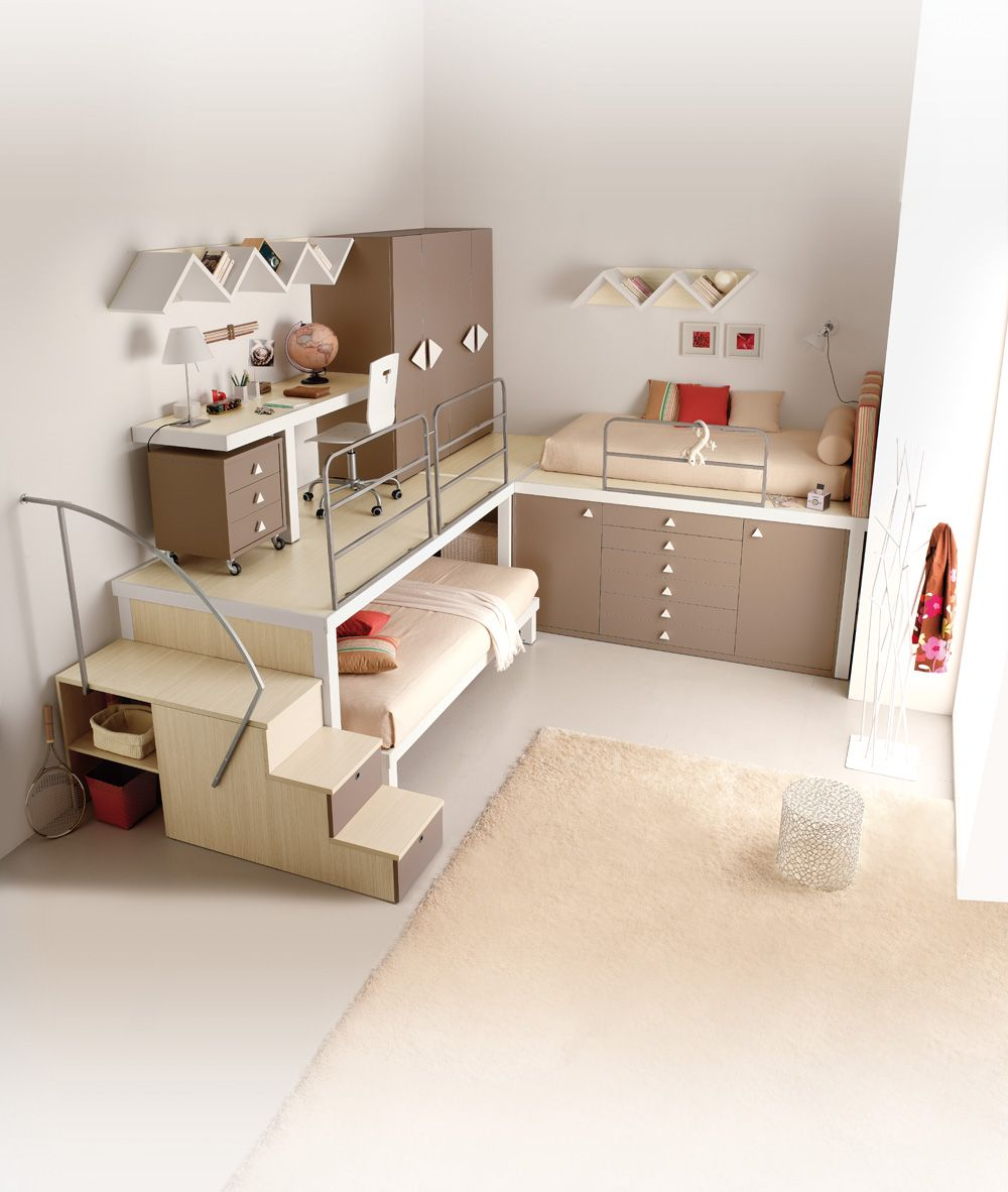 Loft bed ideas for small spaces  Bed slides out from elevated desk area By TUMIDEI  Collezioni