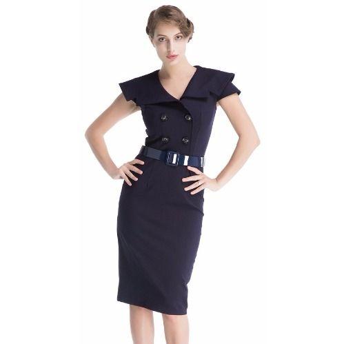 Women's Retro  Pencil Dress - Blue