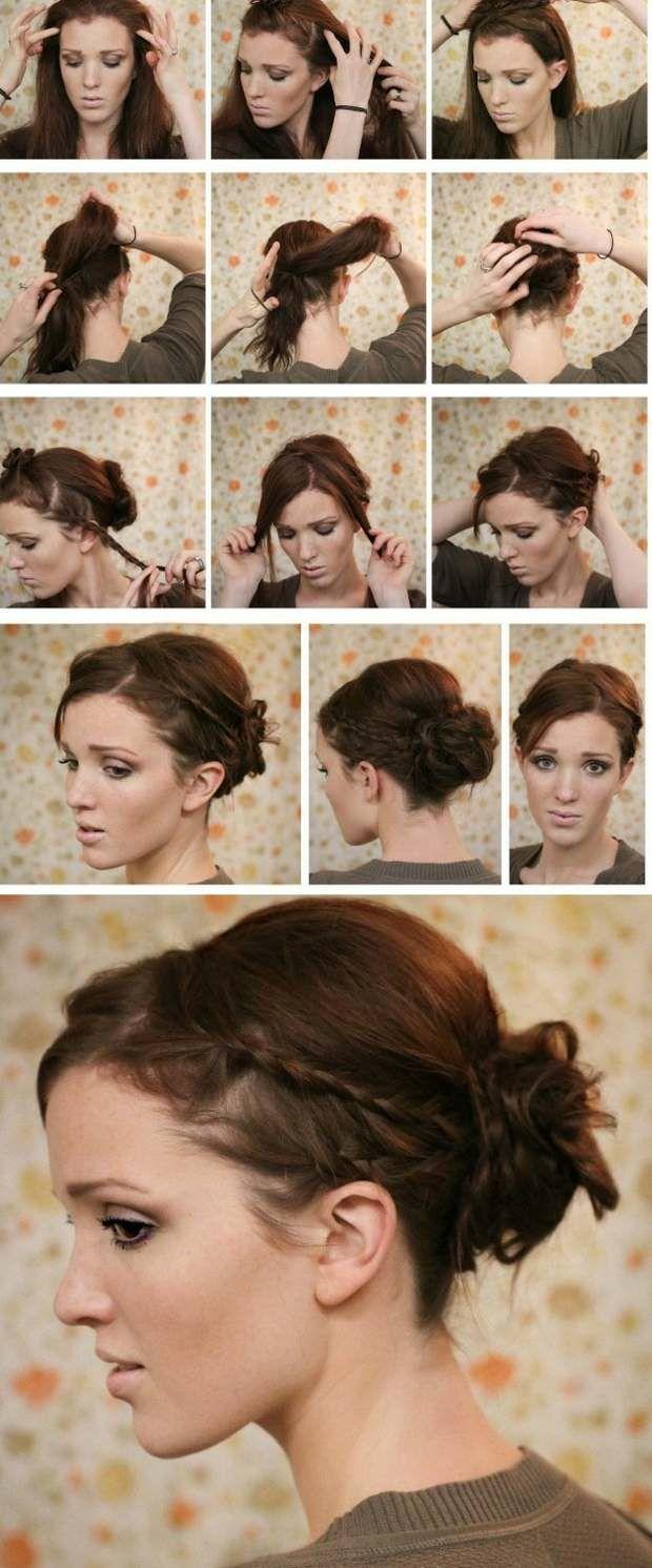 Hochsteckfrisuren Alltag Selber Machen Ideen Seitliche Zöpfe Haare