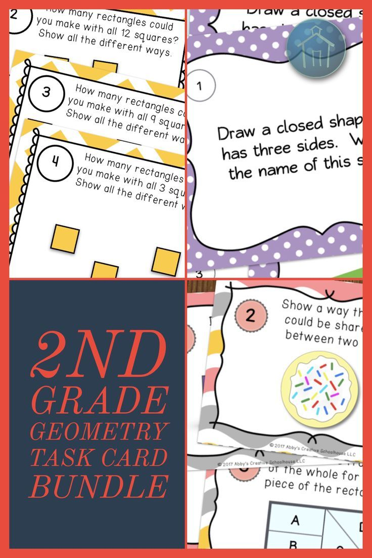 Second Grade Geometry Task Cards BUNDLE   Maths, Students and Common ...