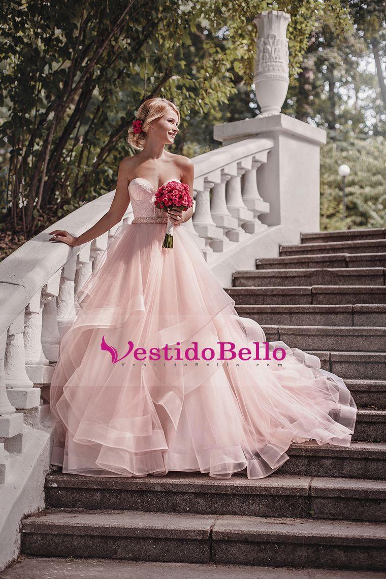 2017 Sweetheart A Line vestidos de novia Tulle con Applique y Sash ...