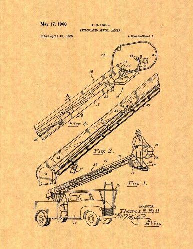 utility aerial ladder patent print art poster (20' x 24')
