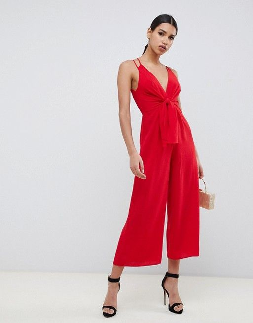 55019e1ce6e DESIGN jumpsuit with tie front and wide leg in 2019