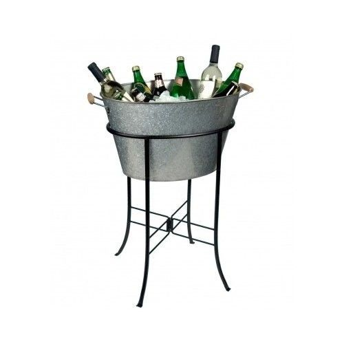 Tub Party Stand Drink Ice Bucket Cooler Galvanized Wine Beer Metal Patio Bar Poo Party Tub Beverage Tub Galvanized Tub