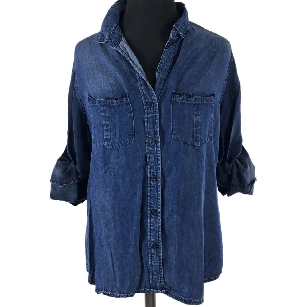 5a82867f097119 Chelsea And Violet Womens Denim Shirt M Long Sleeve 100% Tensel Jean Button  Down