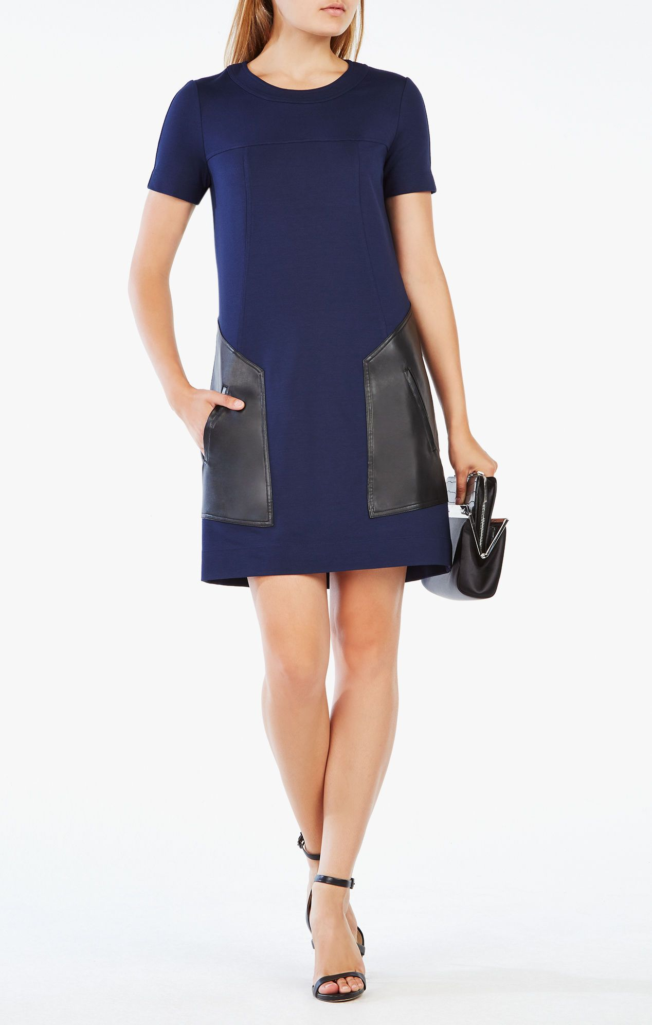 0a36195900cb Chrissie Pleather-Blocked Dress, BCBG Max Azria, $148 | Fashion Wish ...