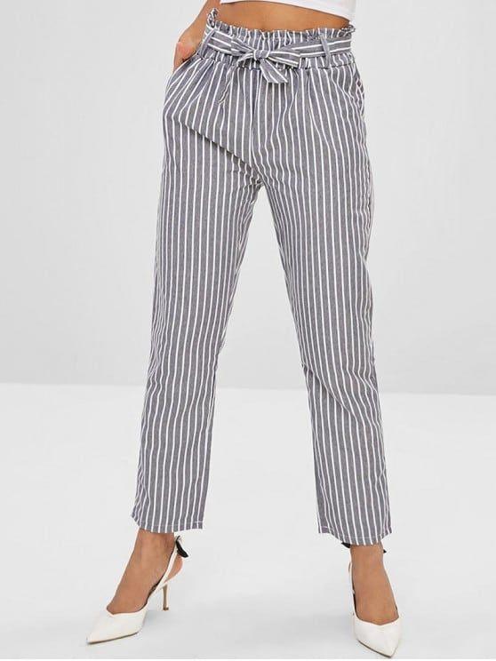 Pantalones De Cintura De Bolsillo De Papel Con Rayas Battleship Gray Fashion Fashion Classy Business Fashion Summer