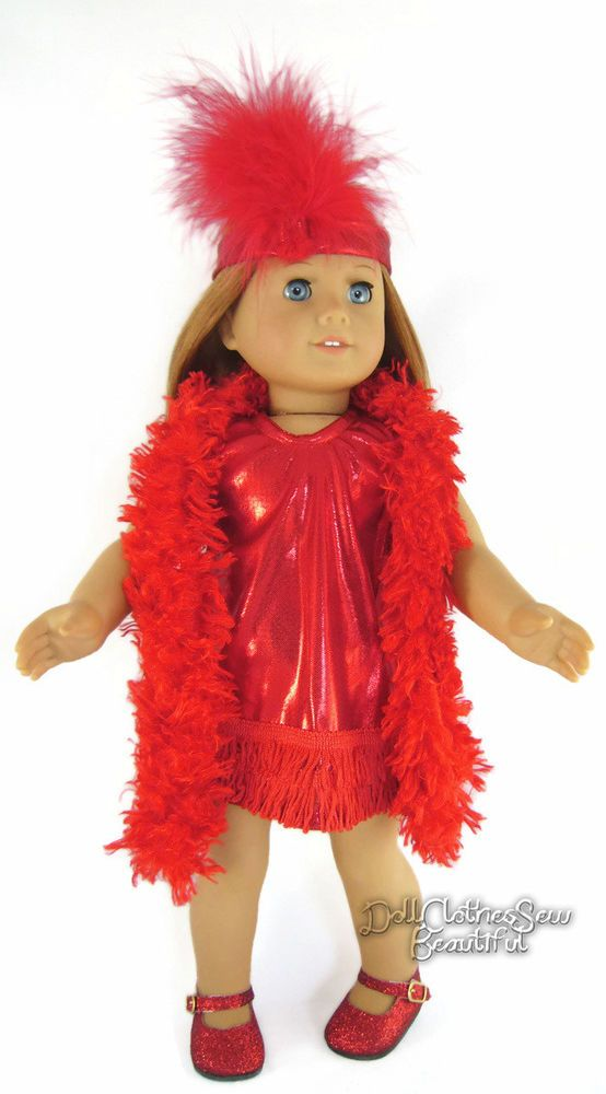 Red Flapper Costume & Glitter Shoes for American Girl Doll Clothes ...