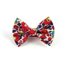 Barrette enfant noeud papillon tissu liberty betsy ann rouge / bleu ...