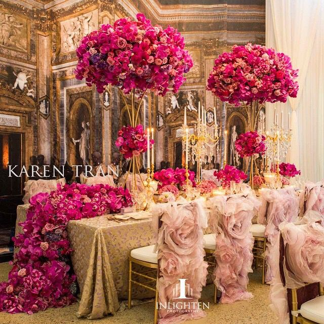glam light pink dark pink and gold wedding decor with