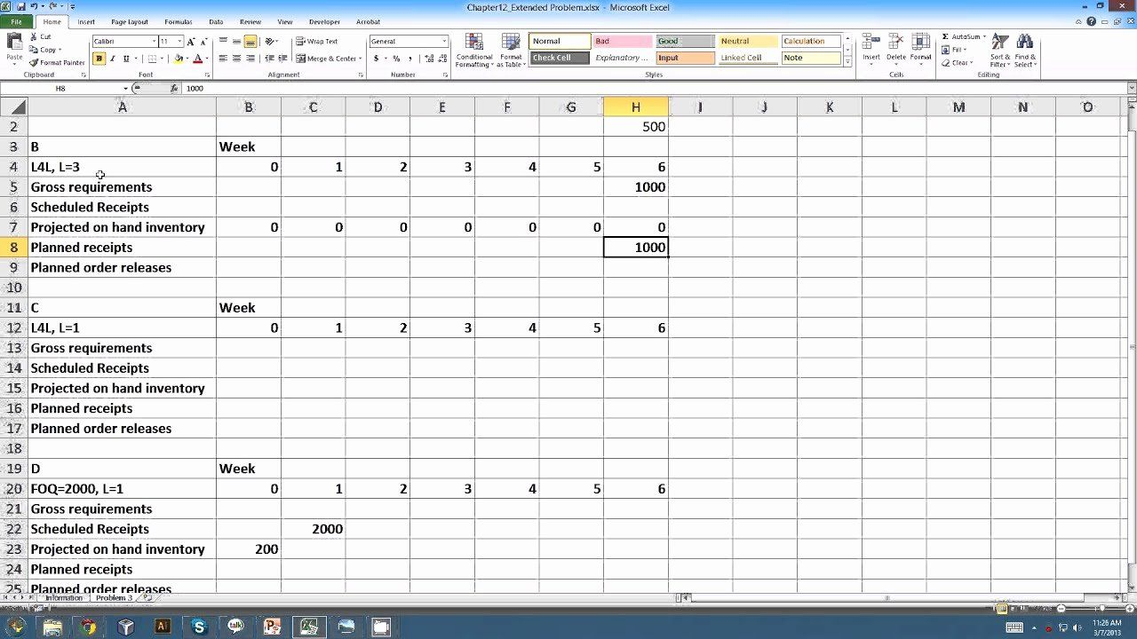 Master Production Schedule Template Excel Inspirational ...
