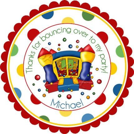 Bounce house primary colors w wide polka dot border design personalized stickers