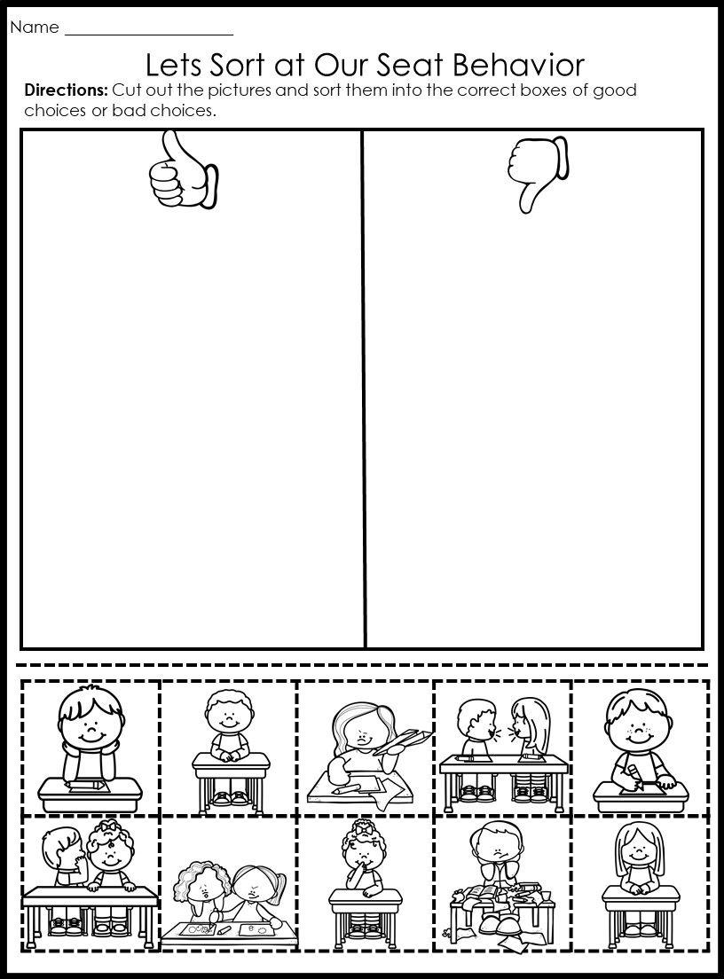 Behavior Picture Sorts Classroommanagment Backtoschool Firstday Firstweek Procedures Sorts Pictur Kindergarten Behavior Kindergarten Worksheets Behavior Behavior worksheets for kindergarten