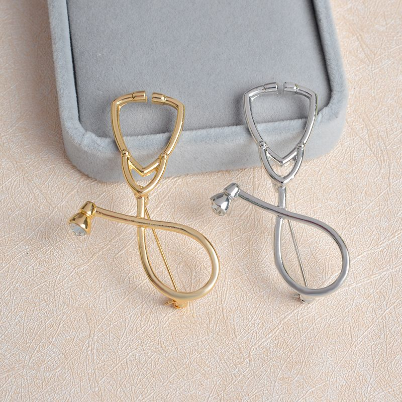 558236394e Miss Zoe Medical Stethoscope Brooch Pins Gold Silver Crystal Collar Corsage  Nurse Physicians Medical Student Graduation Gift-in Brooches from Jewelry  ...