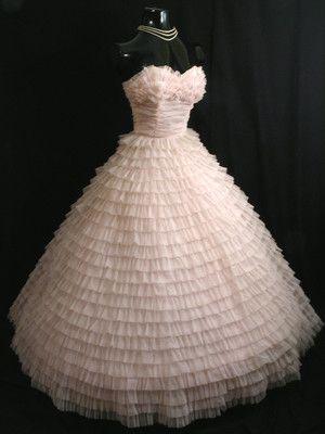 50's pale pink ruched chiffon wedding dress