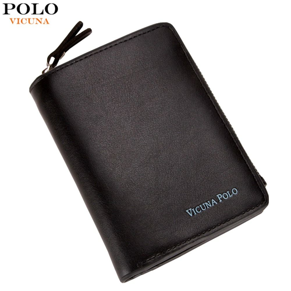 b2f1c8c5340fb VICUNA POLO Casual Casual Genuine Leather Wallet For Man With Zipper Coin  Purse Business Credit Card