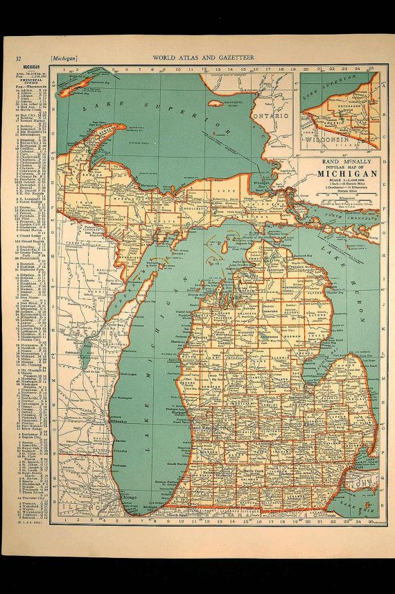 Outdoorsy dadntage vertigo team treasury by bonnie bowers on vintage map michigan state original 1935 need something for save the dates gumiabroncs Gallery