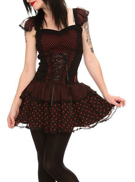 74b04e1636b Hot Topic TRIPP Black Red Polka Dot Lace-Up Dress Visual Kei Emo Punk Gothic..  well this is ADORABLE
