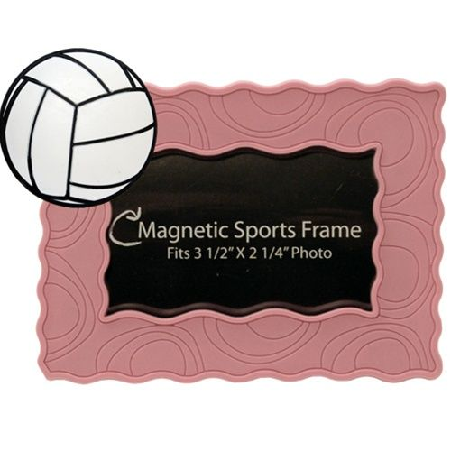 """White Volleyball/ Pink Magnet Frame (4.5"""" x 3.5"""")"""