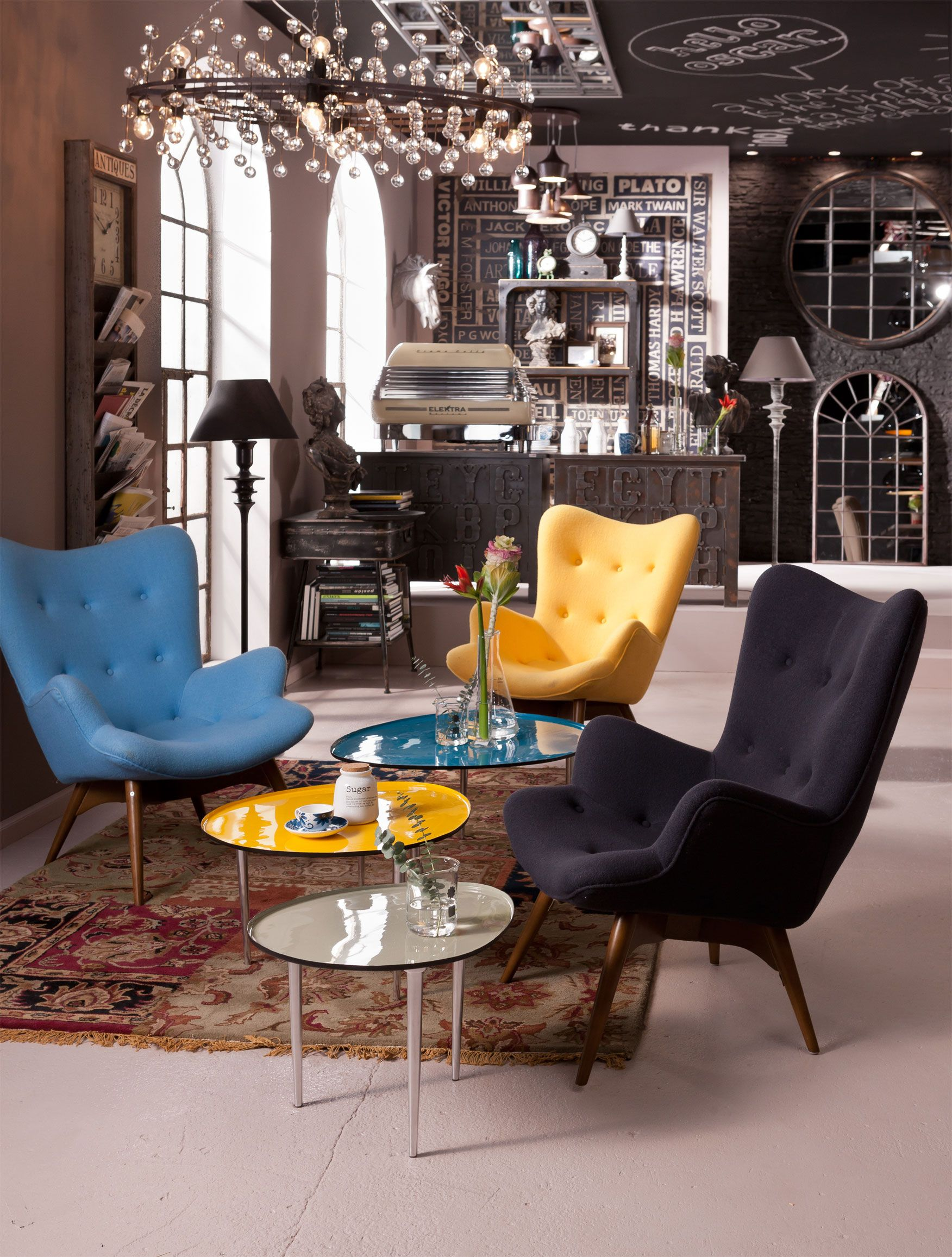 Kare Design Sessel Angels Wings Fauteuil Angels Wings New Geel Blauw En Grijs Zijn 3 Retro