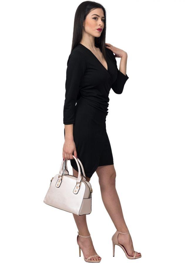 Φόρεμα mini με μακρύ μανίκι κρουαζέ. Το φόρεμα είναι ελαστικό 45440158f2a