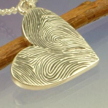Double Fingerprint Heart Pendant. Yours and his <3