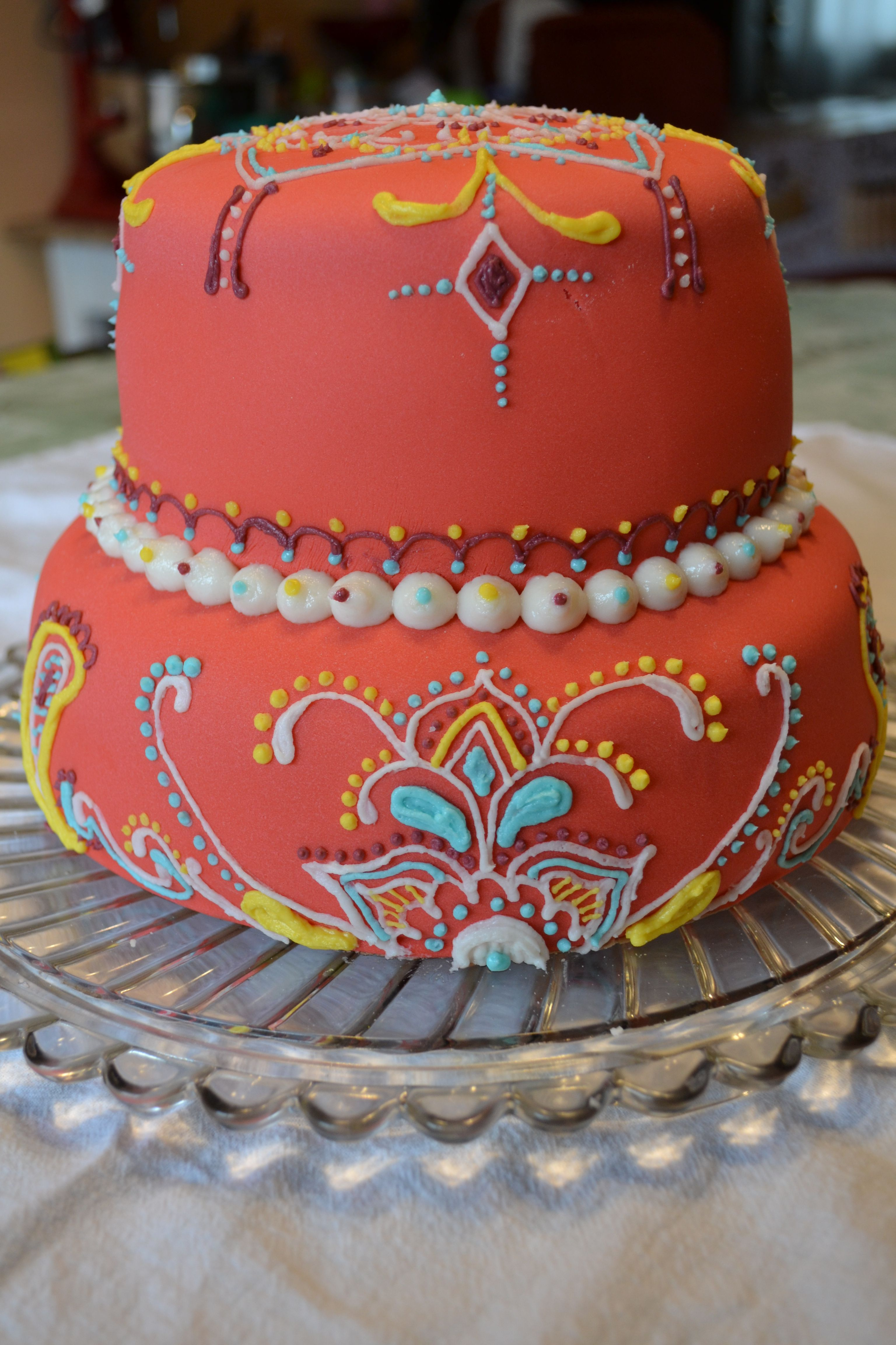 My 22nd birthday cake, colorful henna India style (With