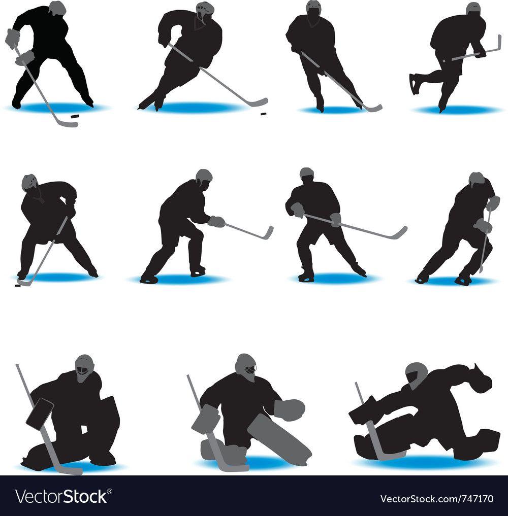 Hockey Silhouettes Vector Image On Vectorstock Hockey Hockey Tattoo Hockey Mom