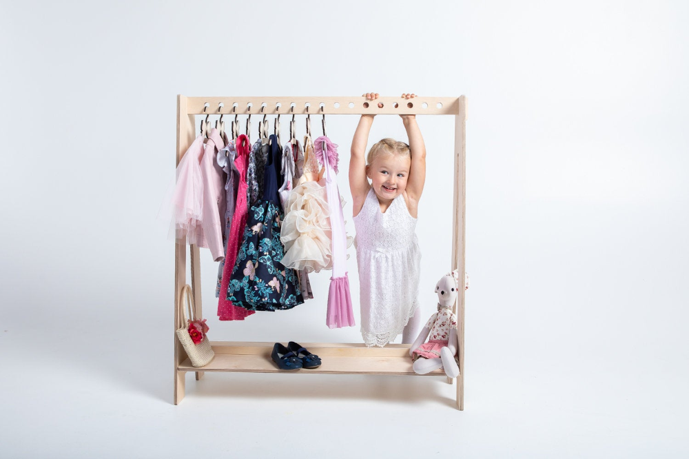 Kids dress up clothes hanger Timber Clothing rack Kids clothes storage A frame rack Bedroom storage Clothes hanger wood clothing rack