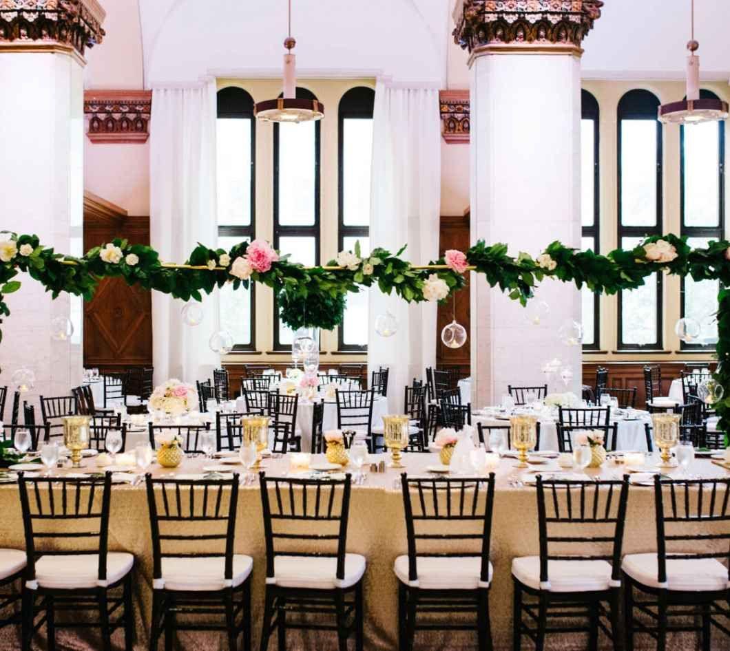 gold reception with hanging florals - weddingday-online.com