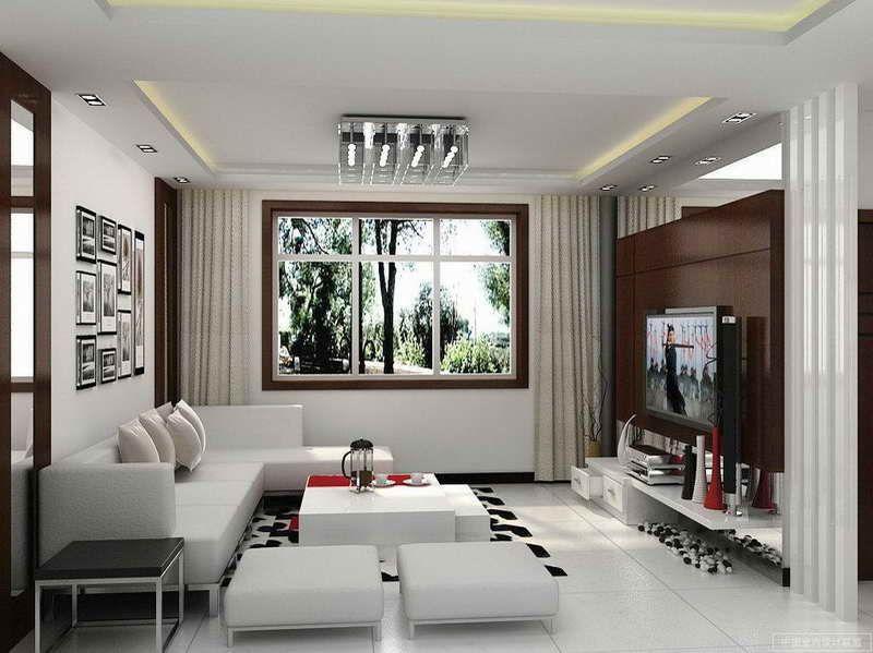 Giant White Tiles Small Modern Living Room Living Room Design Modern Small Living Room Design