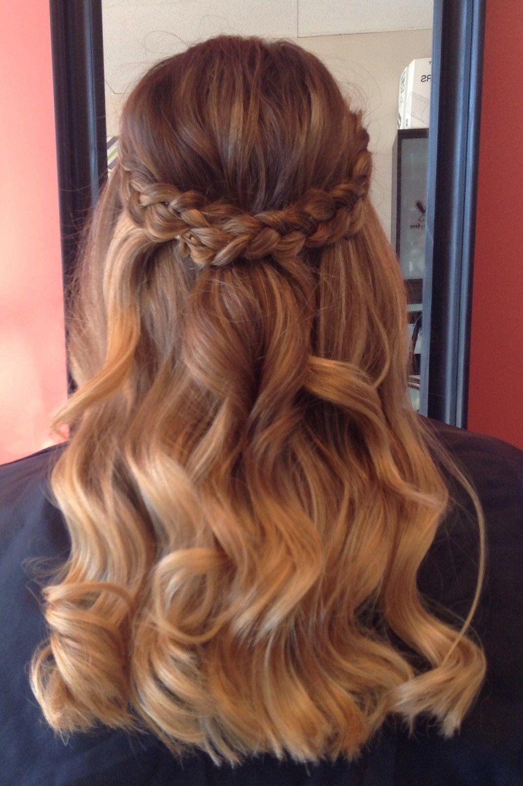 Half up do with braid #bridalhair #curls #updo | Braided ...